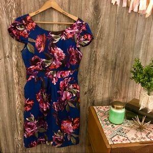 {moulinette soeurs} cobalt floral satin dress 4